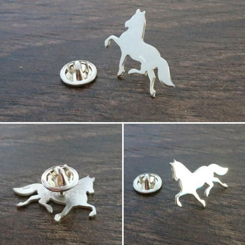 Friesian Horse Lapel Pin Handmade by saw piercing